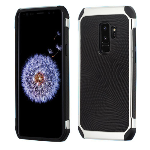 Asmyna Astronoot Protector Cover for Samsung Galaxy S9 Plus - Black Dots(Silver Plating) / Black