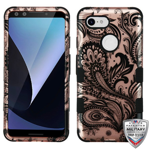 MyBat TUFF Hybrid Protector Cover [Military-Grade Certified] for Google Pixel 3 - Phoenix Flower (2D Rose Gold) / Black