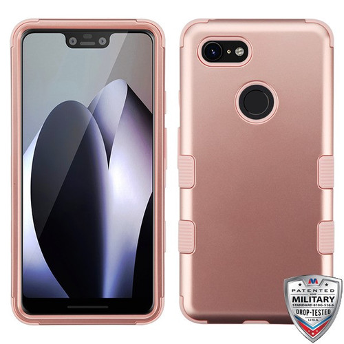 MyBat TUFF Hybrid Protector Cover [Military-Grade Certified] for Google Pixel 3 XL - Rose Gold / Rose Gold