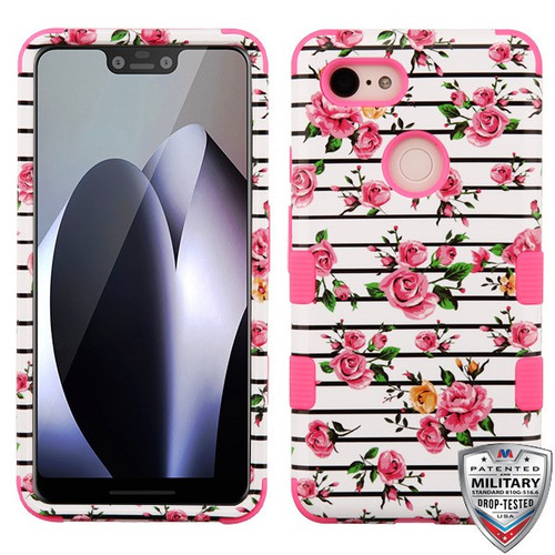 MyBat TUFF Hybrid Protector Cover [Military-Grade Certified] for Google Pixel 3 XL - Pink Fresh Roses / Electric Pink