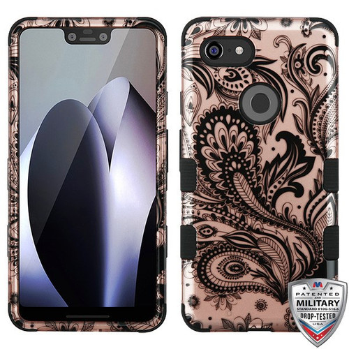 MyBat TUFF Hybrid Protector Cover [Military-Grade Certified] for Google Pixel 3 XL - Phoenix Flower (2D Rose Gold) / Black
