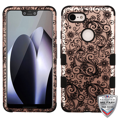 MyBat TUFF Hybrid Protector Cover [Military-Grade Certified] for Google Pixel 3 XL - Black Four-Leaf Clover (2D Rose Gold) / Black