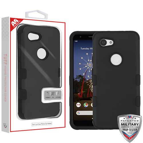 MyBat TUFF Hybrid Protector Cover [Military-Grade Certified] for Google Pixel 3a - Rubberized Black / Black