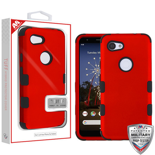 MyBat TUFF Hybrid Protector Cover [Military-Grade Certified] for Google Pixel 3a - Titanium Red / Black