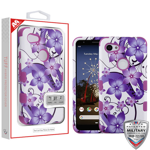 MyBat TUFF Hybrid Protector Cover [Military-Grade Certified] for Google Pixel 3a - Purple Hibiscus Flower Romance / Electric Purple