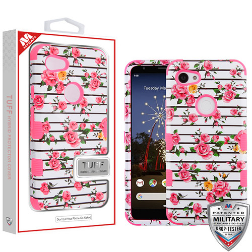 MyBat TUFF Hybrid Protector Cover [Military-Grade Certified] for Google Pixel 3a XL - Pink Fresh Roses / Electric Pink