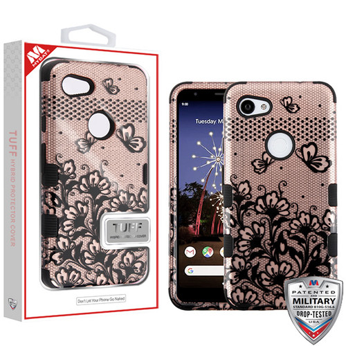 MyBat TUFF Hybrid Protector Cover [Military-Grade Certified] for Google Pixel 3a XL - Black Lace Flowers (2D Rose Gold) / Black