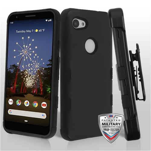 MyBat TUFF Hybrid Protector Case [Military-Grade Certified](with Black Horizontal Holster) for Google Pixel 3a XL - Rubberized Black / Black