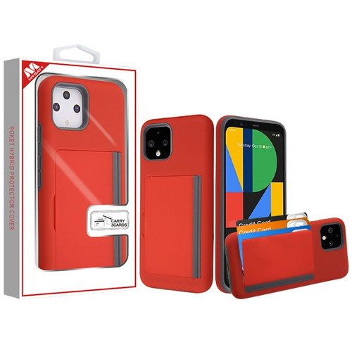 MyBat Poket Hybrid Protector Cover (with Back Film) for Google Pixel 4 - Red / Gray