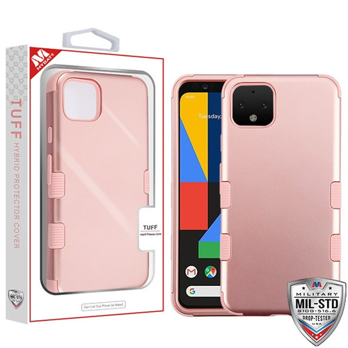 MyBat TUFF Hybrid Protector Cover [Military-Grade Certified] for Google Pixel 4 - Rose Gold / Rose Gold