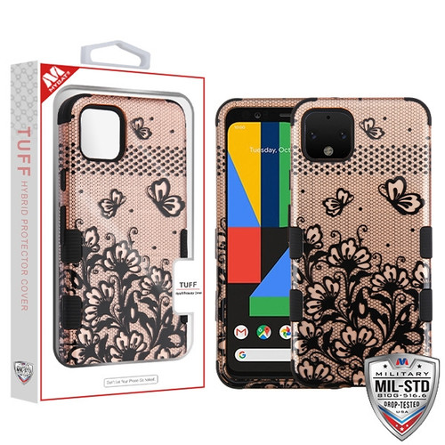 MyBat TUFF Hybrid Protector Cover [Military-Grade Certified] for Google Pixel 4 - Black Lace Flowers (2D Rose Gold) / Black