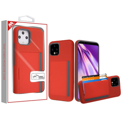MyBat Poket Hybrid Protector Cover (with Back Film) for Google Pixel 4 XL - Red / Gray