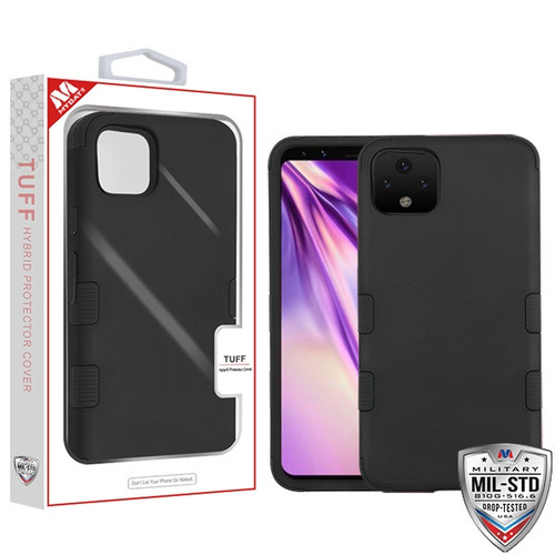 MyBat TUFF Hybrid Protector Cover [Military-Grade Certified] for Google Pixel 4 XL - Rubberized Black / Black