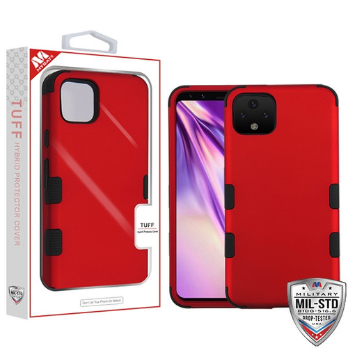MyBat TUFF Hybrid Protector Cover [Military-Grade Certified] for Google Pixel 4 XL - Titanium Red / Black