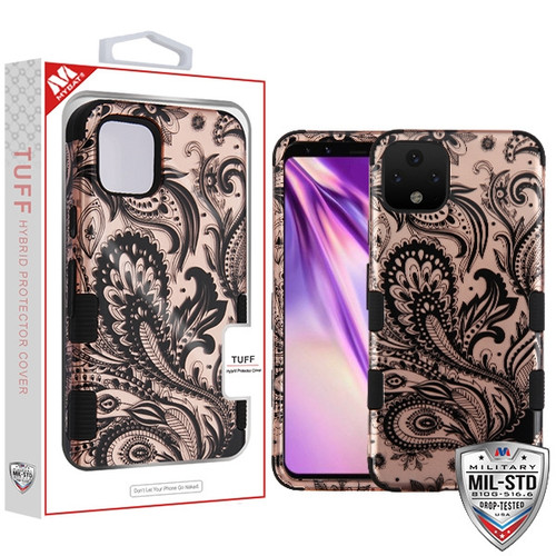 MyBat TUFF Hybrid Protector Cover [Military-Grade Certified] for Google Pixel 4 XL - Phoenix Flower (2D Rose Gold) / Black