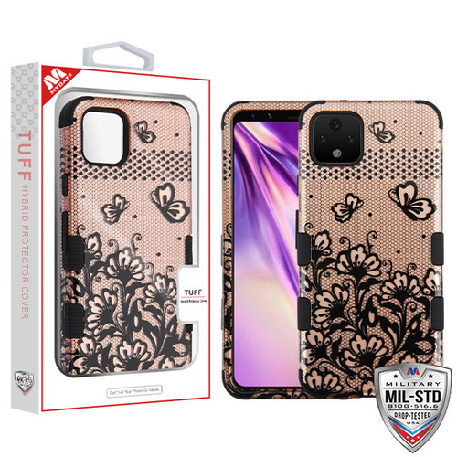 MyBat TUFF Hybrid Protector Cover [Military-Grade Certified] for Google Pixel 4 XL - Black Lace Flowers (2D Rose Gold) / Black