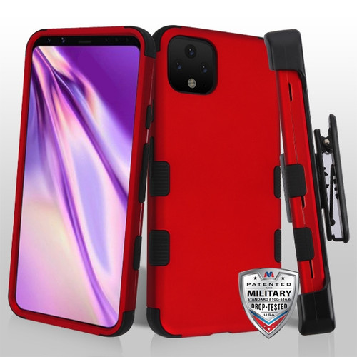 MyBat TUFF Hybrid Protector Case [Military-Grade Certified](with Black Horizontal Holster) for Google Pixel 4 XL - Titanium Red / Black