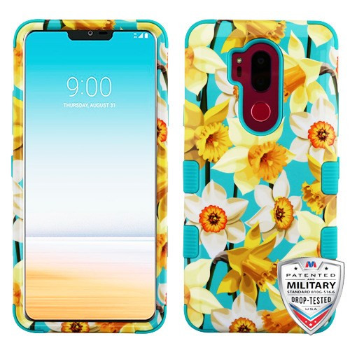 MyBat TUFF Hybrid Protector Cover [Military-Grade Certified] for Lg G710 (G7 Thinq) - Spring Daffodils / Tropical Teal