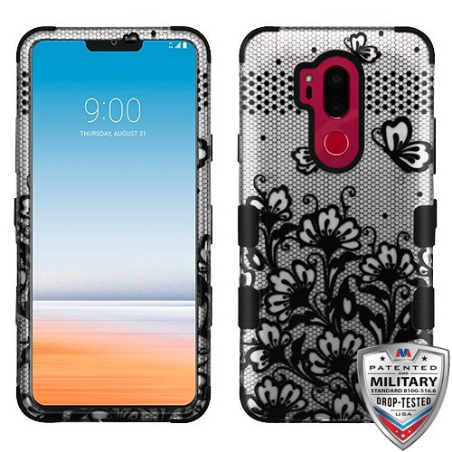 MyBat TUFF Hybrid Protector Cover [Military-Grade Certified] for Lg G710 (G7 Thinq) - Black Lace Flowers (2D Silver) / Black