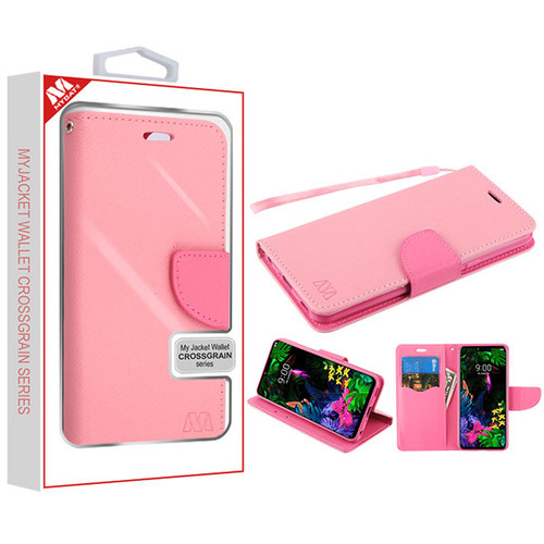 MyBat Liner MyJacket Wallet Crossgrain Series for Lg G8 ThinQ - Pink Pattern / Hot Pink