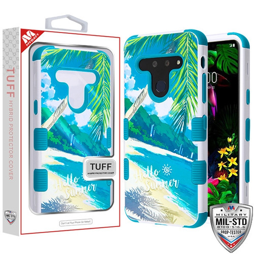 MyBat TUFF Hybrid Protector Cover [Military-Grade Certified] for Lg G8 ThinQ - Palm Beach / Tropical Teal
