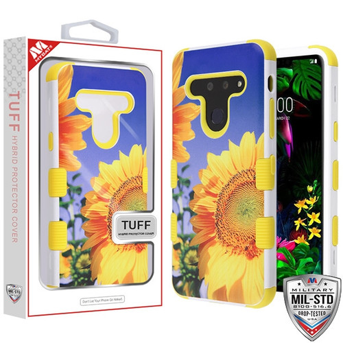MyBat TUFF Hybrid Protector Cover [Military-Grade Certified] for Lg G8 ThinQ - Sunflower Field / Yellow