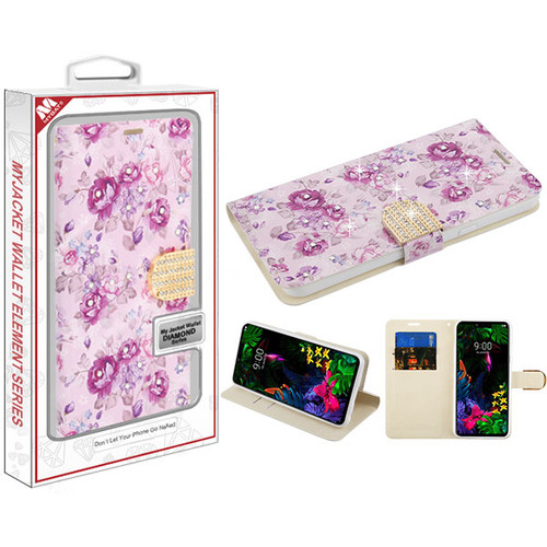 MyBat MyJacket Wallet Diamond Series for Lg G8 ThinQ - Fresh Purple Flowers