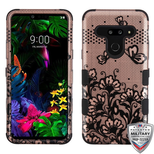 MyBat TUFF Hybrid Protector Cover [Military-Grade Certified] for Lg G8 ThinQ - Black Lace Flowers (2D Rose Gold) / Black
