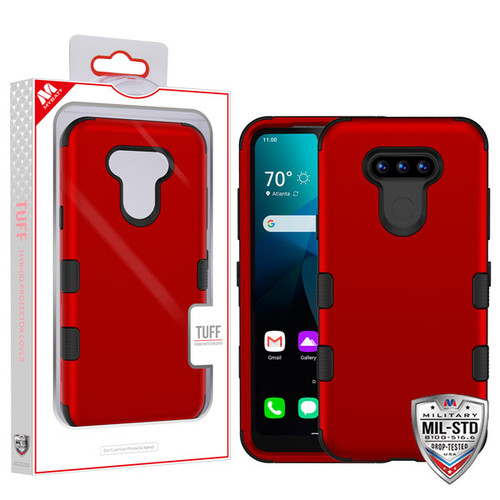 MyBat TUFF Hybrid Protector Cover [Military-Grade Certified] for Lg Harmony 4 - Titanium Red / Black