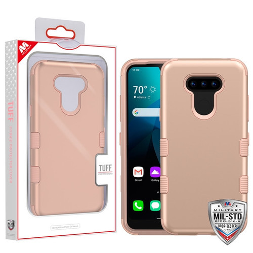 MyBat TUFF Hybrid Protector Cover [Military-Grade Certified] for Lg Harmony 4 - Rose Gold / Rose Gold
