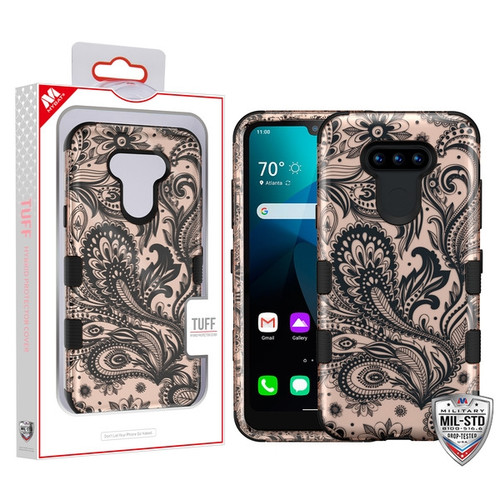 MyBat TUFF Hybrid Protector Cover [Military-Grade Certified] for Lg Harmony 4 - Phoenix Flower (2D Rose Gold) / Black