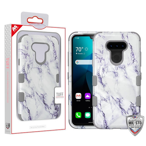 MyBat TUFF Hybrid Protector Cover [Military-Grade Certified] for Lg Harmony 4 - White Marbling / Iron Gray