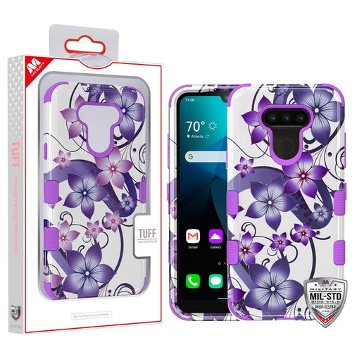 MyBat TUFF Hybrid Protector Cover [Military-Grade Certified] for Lg Harmony 4 - Purple Hibiscus Flower Romance / Electric Purple