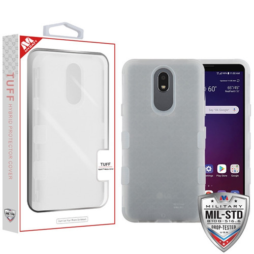 MyBat TUFF Hybrid Protector Cover [Military-Grade Certified] for Lg X320 (Escape Plus) - Semi Transparent White Frosted / Transparent White