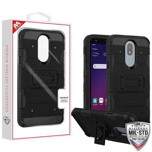 MyBat Storm Tank Hybrid Protector Cover [Military-Grade Certified] for Lg X320 (Escape Plus) - Black / Black