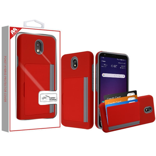 MyBat Poket Hybrid Protector Cover (with Back Film) for Lg X320 (Escape Plus) - Red / Gray