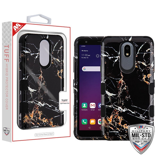 MyBat TUFF Hybrid Protector Cover [Military-Grade Certified] for Lg X320 (Escape Plus) - Montmartre Marble / Black