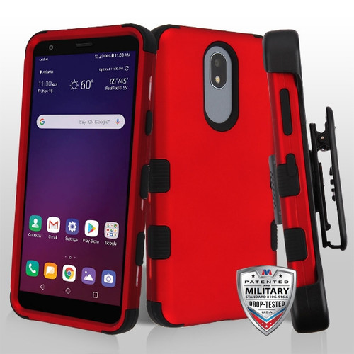 MyBat TUFF Hybrid Protector Case [Military-Grade Certified](with Black Horizontal Holster) for Lg X320 (Escape Plus) - Titanium Red / Black