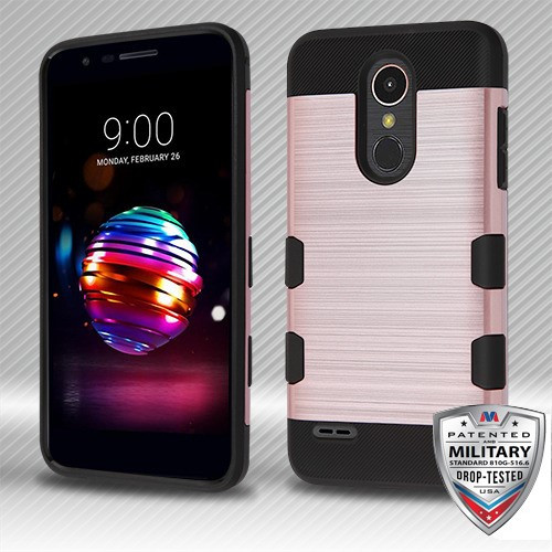 MyBat Brushed TUFF Trooper Hybrid Protector Cover [Military-Grade Certified] for Lg K10 (2018) - Rose Gold / Black