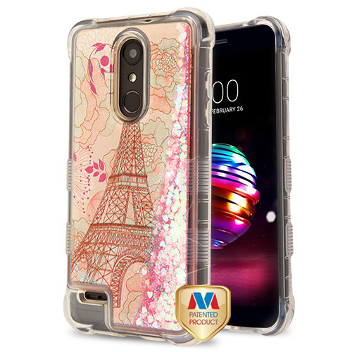 MyBat TUFF Quicksand Glitter Lite Hybrid Protector Cover for Lg K10 (2018) - Eiffel Tower / Pink Hearts