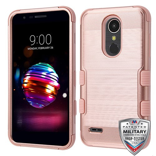 MyBat TUFF Hybrid Protector Cover [Military-Grade Certified] for Lg K10 (2018) - Rose Gold Brushed / Rose Gold