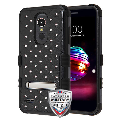 MyBat FullStar TUFF Hybrid Protector Cover (with Magnetic Metal Stand)[Military-Grade Certified] for Lg K10 (2018) - Natural Black / Black