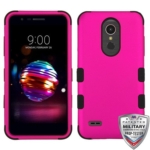MyBat TUFF Hybrid Protector Cover [Military-Grade Certified] for Lg K10 (2018) - Titanium Solid Hot Pink / Black