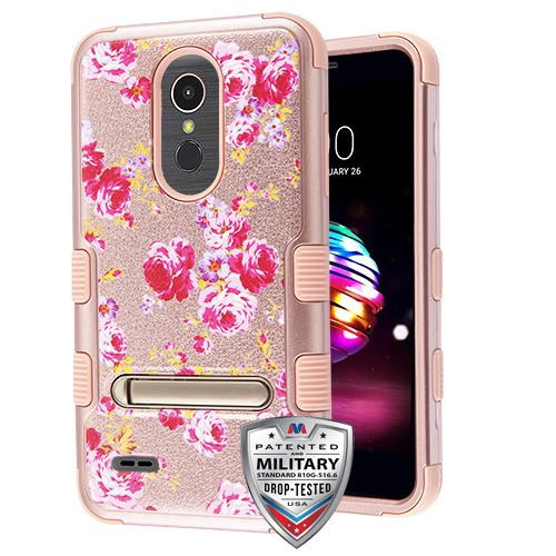 MyBat TUFF Hybrid Protector Cover (with Magnetic Metal Stand)[Military-Grade Certified] for Lg K10 (2018) - Vintage Rose Bush Textured Rose Gold / Rose Gold