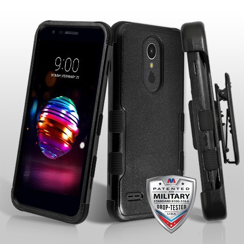 MyBat TUFF Hybrid Protector Case Combo [Military-Grade Certified](with Black Horizontal Holster) for Lg K10 (2018) - Natural Black / Black