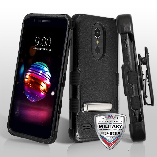 MyBat TUFF Hybrid Protector Case (with Stand)[Military-Grade Certified](with Black Horizontal Holster) for Lg K10 (2018) - Natural Black / Black