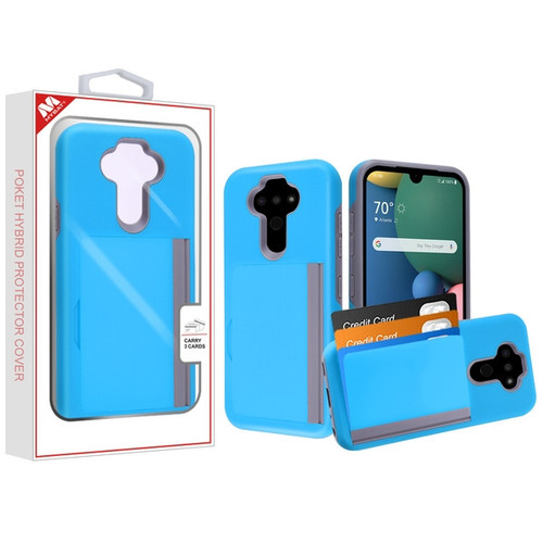 MyBat Poket Hybrid Protector Cover (with Back Film) for Lg K31 (Aristo 5)/Fortune 3 - Blue / Gray