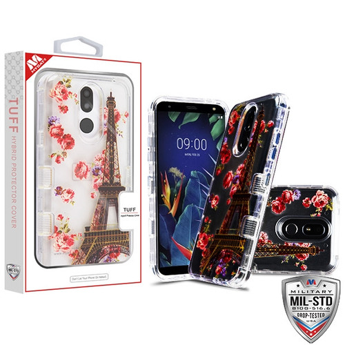 MyBat TUFF Lucid Hybrid Protector Cover [Military-Grade Certified] for Lg K40 - Transparent Clear / Paris in Full Bloom