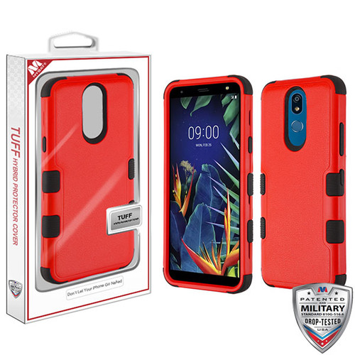 MyBat TUFF Hybrid Protector Cover [Military-Grade Certified] for Lg K40 - Natural Red / Black