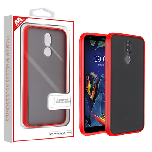 MyBat Frost Hybrid Protector Cover for Lg K40 - Semi Transparent Smoke Frosted / Rubberized Red